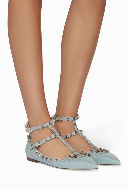 hover state of Pastel-Blue Double-Strap Rockstud Textured Ballerinas