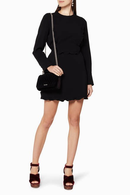 hover state of Black Ruffled Mini Dress