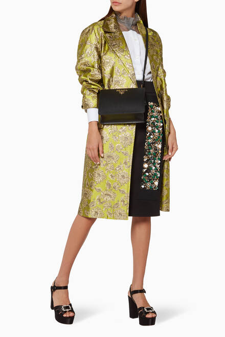 hover state of Green Floral Brocade Jacket