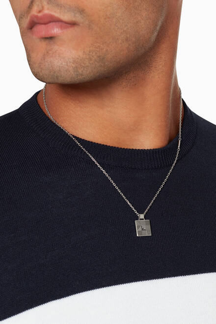 hover state of Logo Stainless Steel Pendant Necklace