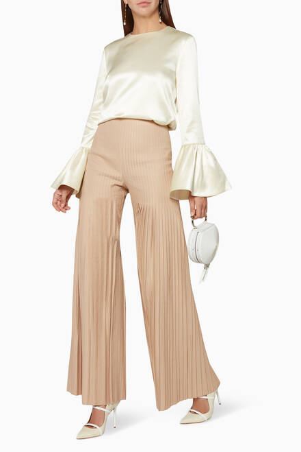 hover state of Beige Mariella Pleated Pants