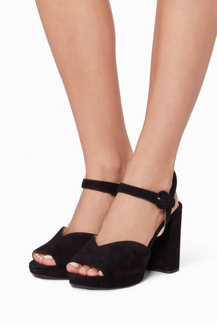 hover state of Black Suede Block-Heel Sandals