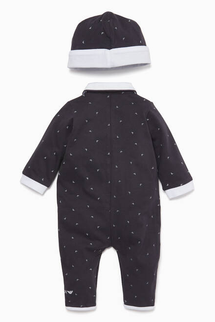 hover state of Three-Piece Jumpsuit, Hat & Pouch Set