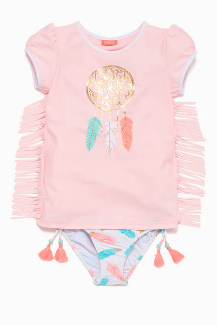 hover state of Pink Metallic Dreamcatcher Rash Top