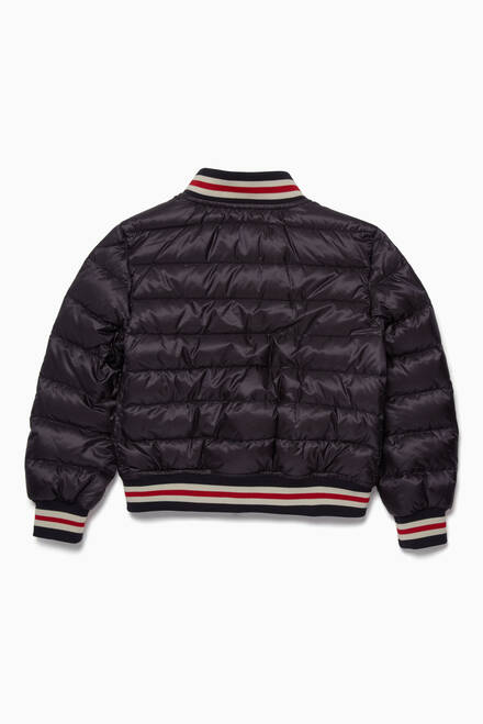 hover state of Navy Varsity-Style Quilted Jacket