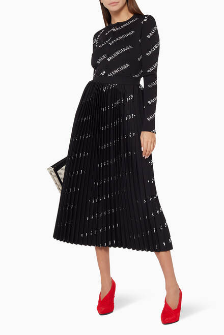 hover state of Logo Print Pleated Skirt