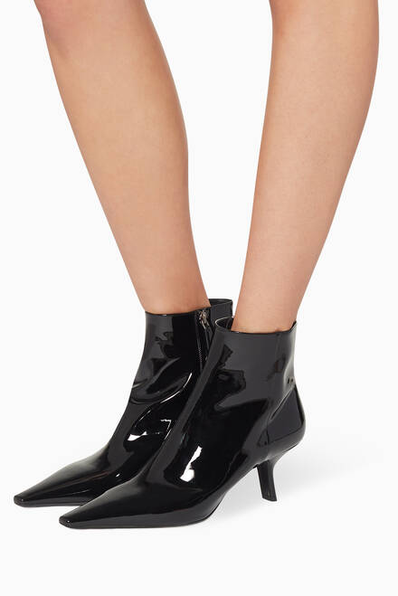 hover state of Slanted Heel Patent Leather Boots