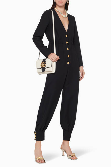 hover state of Wool Silk Long Sleeve Jumpsuit