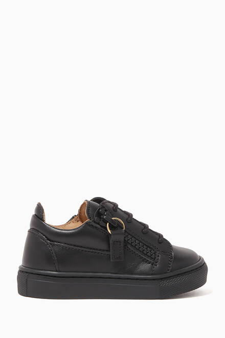 hover state of Side-Zip Low-Top Leather Sneakers