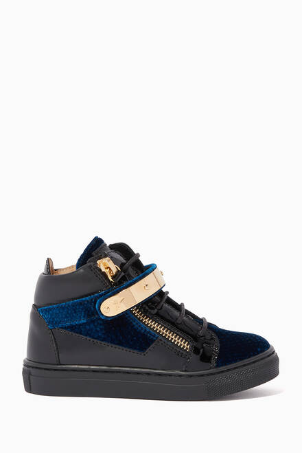 hover state of Kris Velvet High-Top Sneakers
