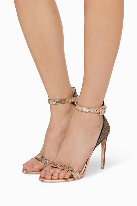 hover state of Nicole Two-Tone Glitter Leather Sandals