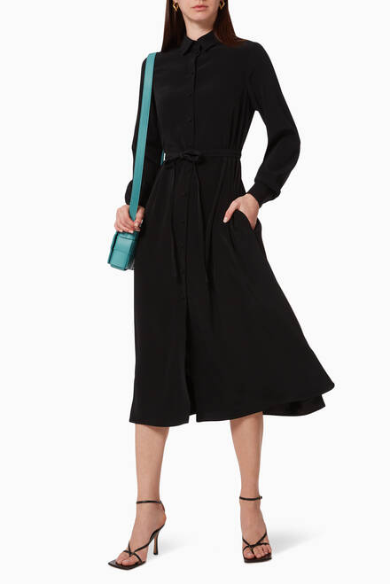hover state of Long Crepe Shirt Dress