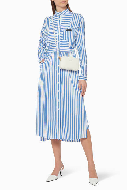 hover state of Striped Cotton Midi Dress