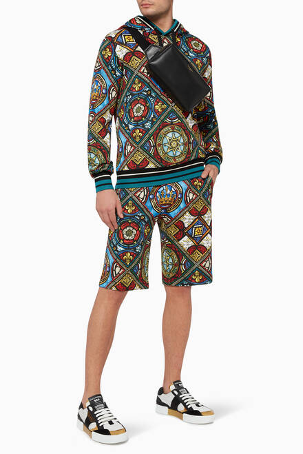 hover state of Glass Window Print Jogging Shorts