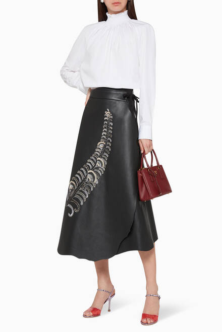 hover state of Sequin Feather Motif Wrap Skirt
