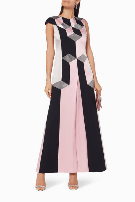 hover state of Determination Geometric Silk Dress