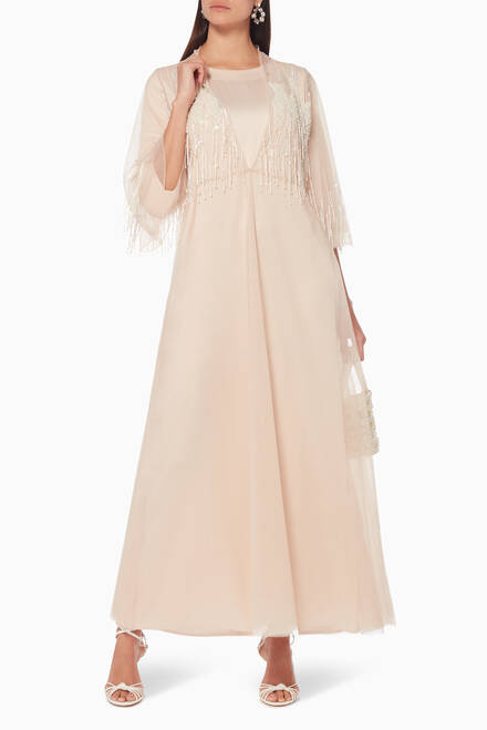 hover state of Tulle Layered Beaded Abaya & Dress