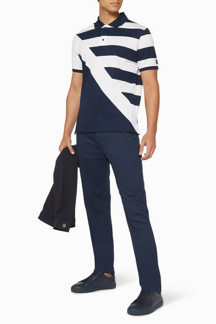 hover state of Stripe Pique Cotton Polo T-Shirt