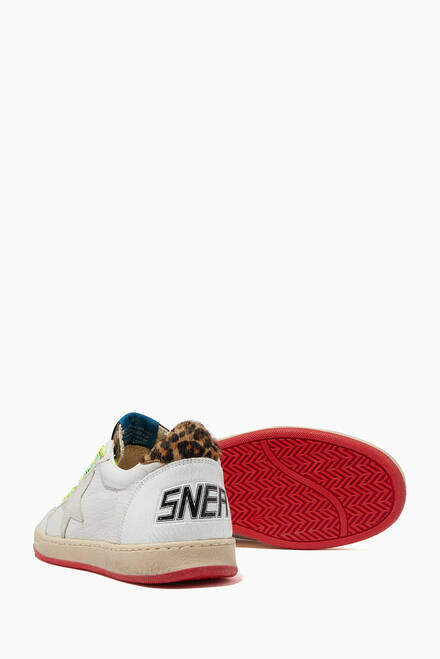 hover state of Ball Star Sneakers with Suede Star & Leopard-Print Heel Tab in Leather