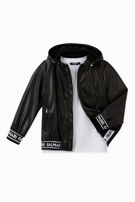 hover state of Logo Leather Hooded Jacket