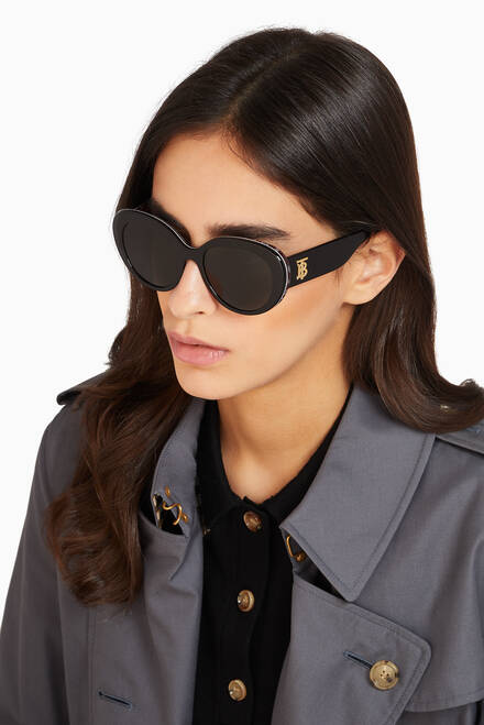 hover state of Monogram Motif Cat-Eye Frame Sunglasses