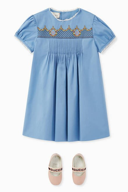 hover state of Embroidered GG Poplin Dress