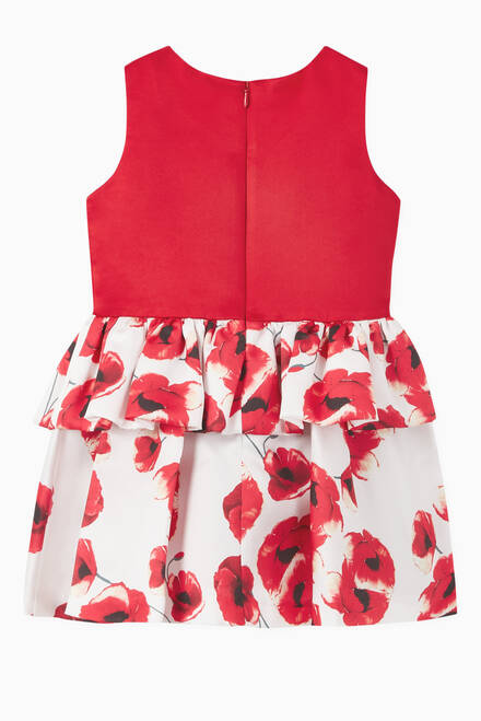 hover state of Poppy Frill Floral Print Dress