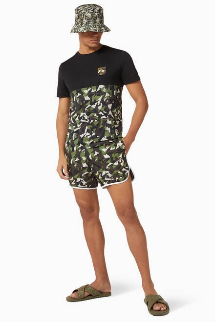 hover state of Camouflage Bag Bugs Eyes Technical Swim Shorts