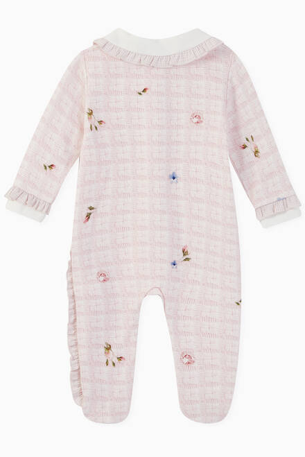hover state of Bunny & Flower Knit Print Jersey Babygrow