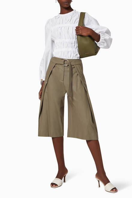 hover state of Margit Vegan Leather Culottes