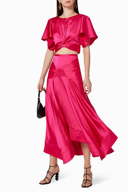 hover state of Palmera Satin Skirt