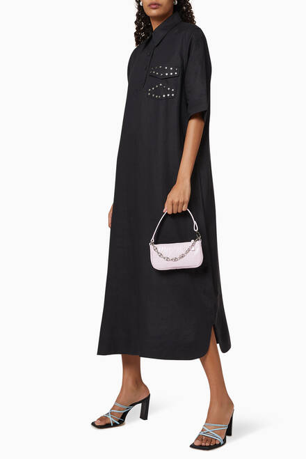 hover state of Studded Linen Shirt Dress