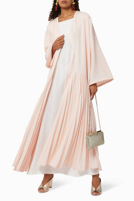 hover state of Pleated Crepe Abaya