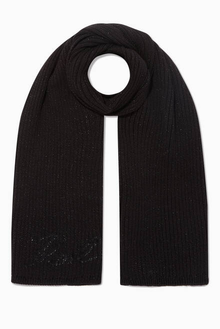 hover state of KARL Signature Ribbed Scarf in Cashmere-Blend