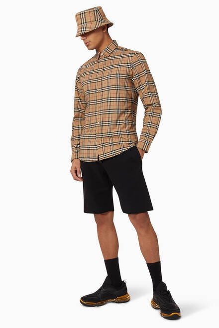 hover state of Small Scale Check Stretch Cotton Shirt