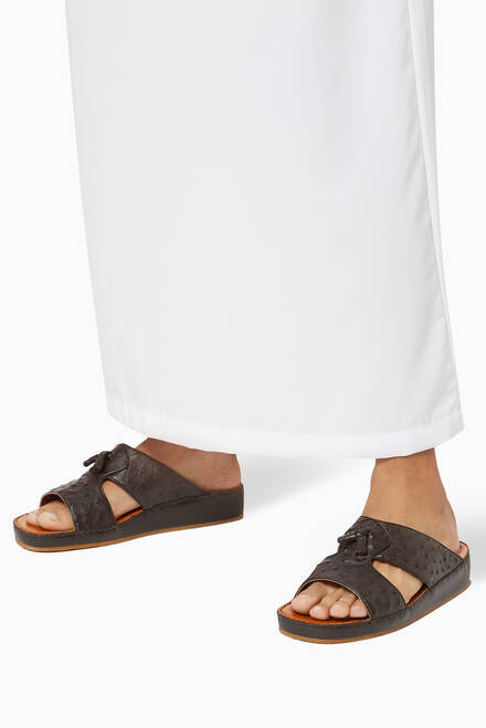 hover state of Inclinato Arca Sandals in Ostrich Leather