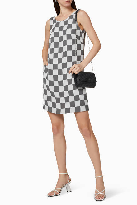 hover state of Checkered Cady Mini Jacquard Dress