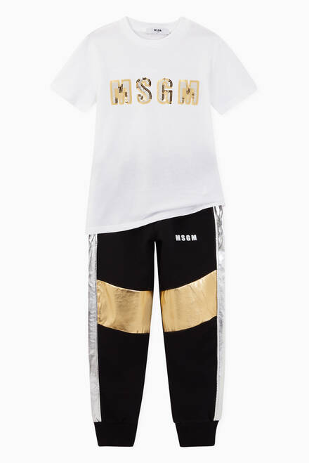 hover state of Metallic Stripe Trimmed Cotton Sweatpants