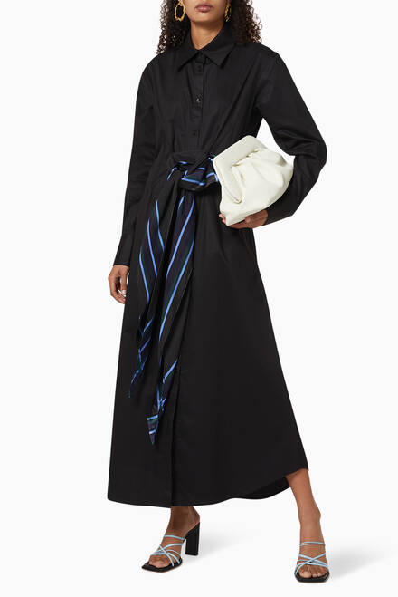 hover state of Scarf-Belted Cotton Shirt Dress