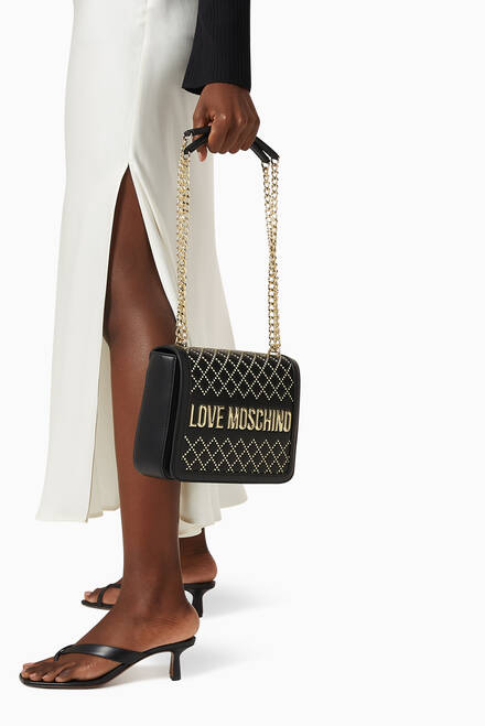 hover state of Studded Shoulder Bag with Logo