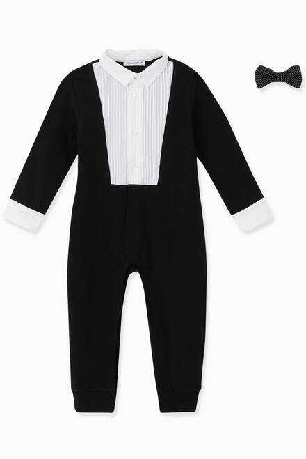 hover state of Bow Tuxedo Romper Set