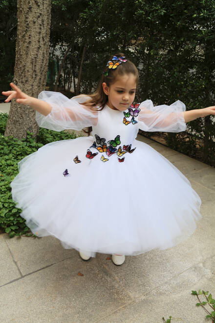 hover state of Butterfly Appliqué Tutu Dress