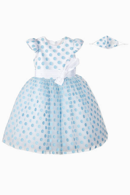 hover state of Blue Robin Polka Dot Tutu Dress