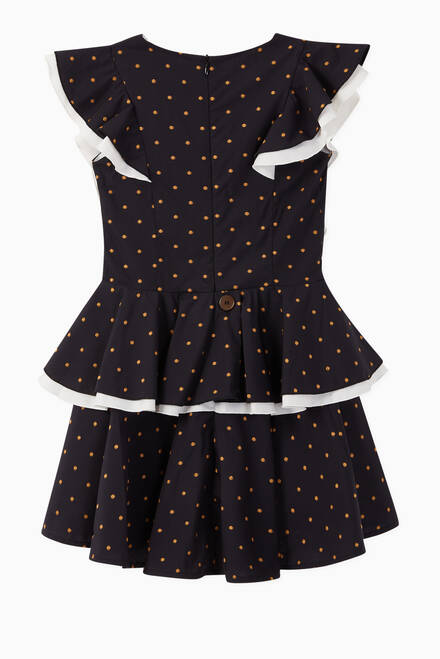 hover state of Butterfly Polka Dot Cotton Blend Dress