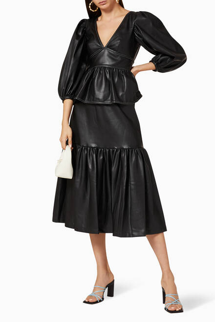 hover state of Luna Vegan Leather Peplum Top