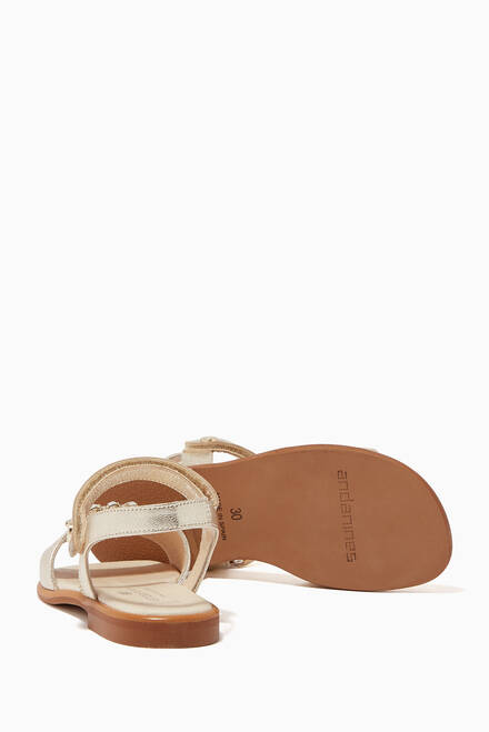 hover state of Elegant Embellished Sandals in Metallic Leather