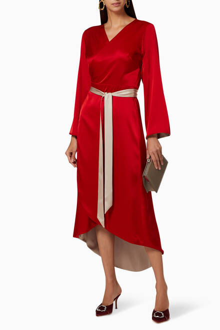 hover state of Double-Sided Satin Wrap Dress