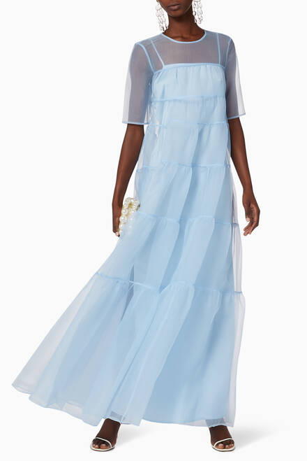 hover state of Hyacinth Tiered Crinkled Organza Maxi Dress