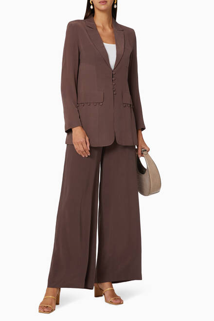hover state of Marilyn Silk Palazzo Pants