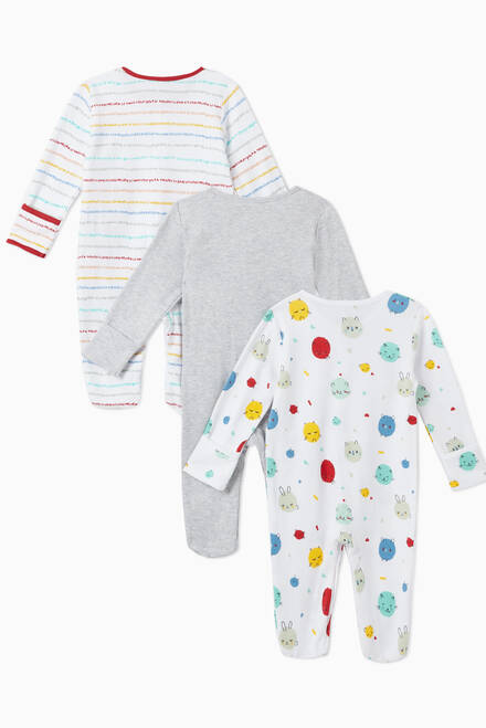 hover state of Bear Cotton Sleepsuit, Set of 3